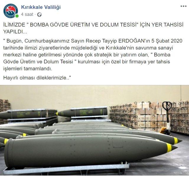 Cumhurbaşkanı Erdoğan'ın müjdelediği bomba üretim ve dolum tesisi için ilk adım atıldı