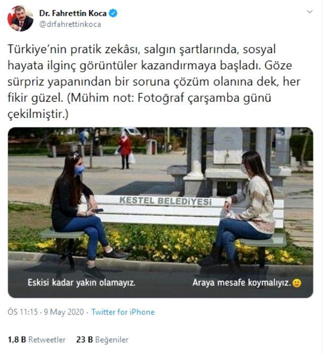 """Sağlık Bakanı Koca'dan """"sosyal mesafeli bank"""" paylaşımı"""
