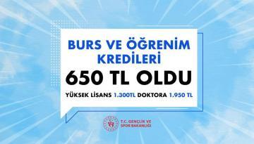 Bakan Kasapoğlu: Burs ve Kredi 650 TL oldu