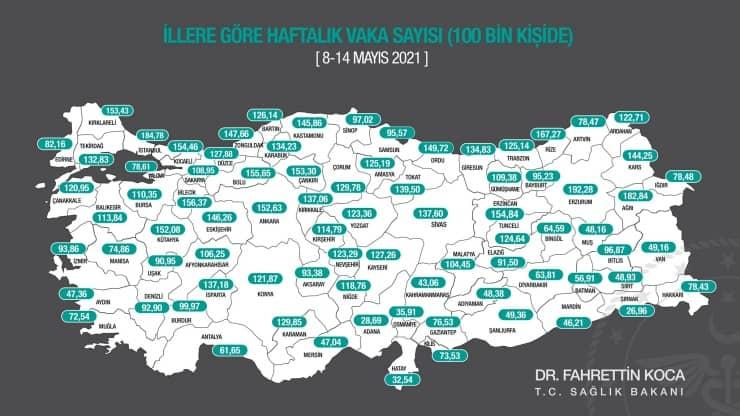 Sağlık bakanı vaka haritasını paylaştı