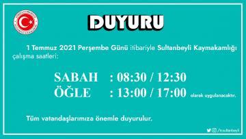 Sultanbeyli'de resmi kurumlarda mesai saati değişti